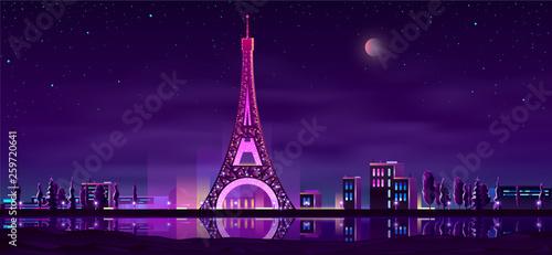 Paryski nabrzeże nocy krajobrazu kreskówki wektor w neonowych kolorach z iluminującą wieżą eifla odbija w wody rzecznej ilustraci. Słynna w Europie atrakcja turystyczna. Miesiąc miodowy romantyczna podróż po Francji