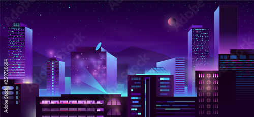 Poster Violet Modern city night skyline with illuminated skyscrapers buildings neon color cartoon vector illustration. Metropolis downtown streets. Urban architecture background with business centers, condominiums