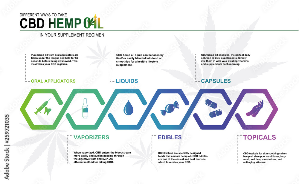 Fototapety, obrazy: CBD hemp oil in your supplement regimen,vector infographic icon on white background and poster.
