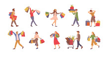 Walking People With Bags Vector, Shopping Man And Woman Holding Packages With Presents. Cart With Bear Plush Toy, Holiday Celebration, Shopaholics