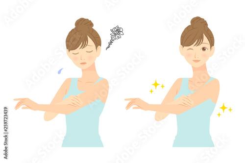 スキンケア 腕を気にする女性 before after 02 Obraz na płótnie