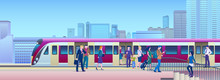 Boarding Train At The Railway Station With City On Background Flat Vector Illustration. People Get On Train From Platform.