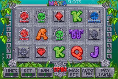 Aztec Slots stone icons  Complete menu of graphical user interface