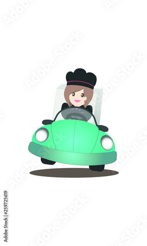 Delivery icon forwebsite and application mobile, chef woman is driving a car to deliver the merchandise Wall mural