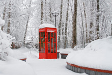 """Red British Telephone Booth Used As Street Library In Winter (translated From Russian """"Library"""")"""