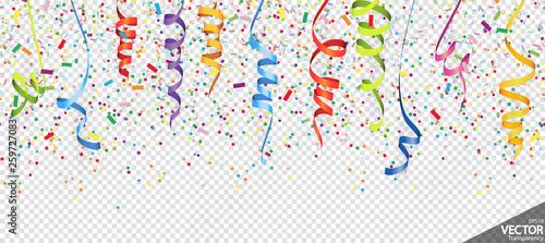 Fototapeta confetti and streamers party background obraz na płótnie