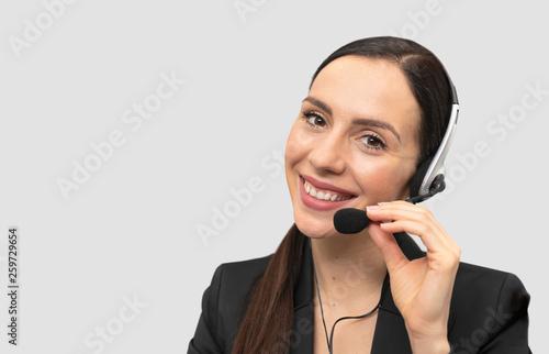 Valokuvatapetti Helpline operator with headset