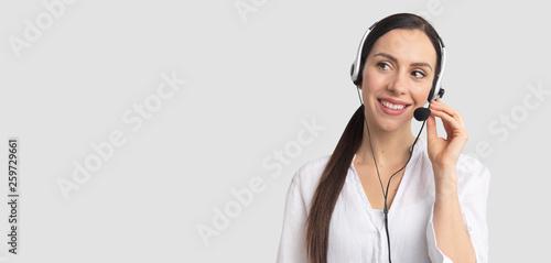 Helpline operator with headset Tapéta, Fotótapéta