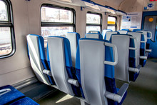 MOSCOW, RUSSIA, On April 4, 2019. Interior Of The Modern Car Of A Regional Electric Train