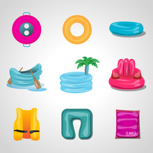 Pool Floats. Inflatable Round Tube Icons Set - Isolated On Gray Background - Vector Illustration, Graphic Design Editable For Your Design. Vector Illustration Of Pool Floats