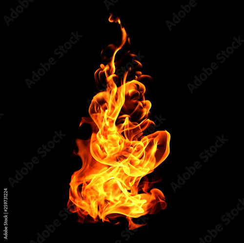 Fire flames collection isolated on black background Wallpaper Mural