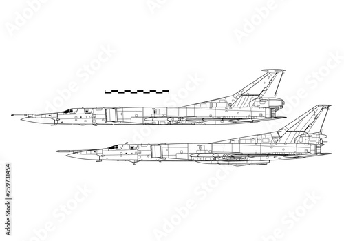 Photo Tupolev Tu-22M Backfire. Outline drawing