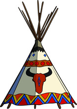 Native American Traditional Tipi Tent Vector Illustration. Apache Wigwam With Buffalo Skull.