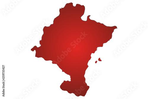 Mapa rojo de Navarra.