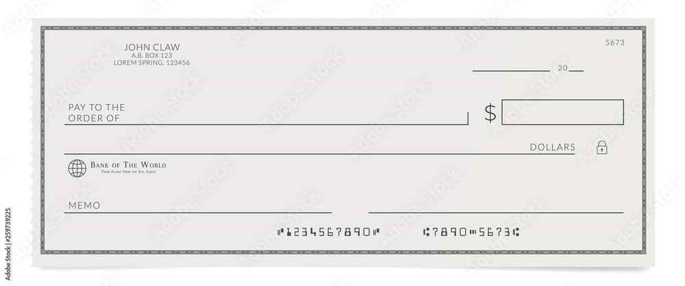 Fototapeta Torn off blank bank cheque. Personal desk check template with empty field to fill.