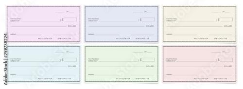 Fototapeta Bank cheques templates. Blank personal desk checks. obraz