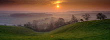 Sunrise Over Hambledon And The South Downs National Park, Hampshire, UK
