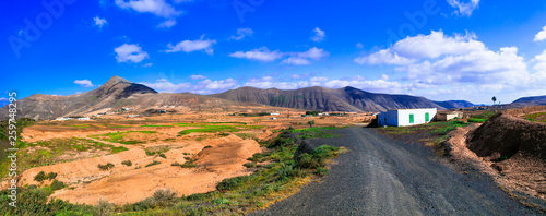 landscapes of volcanic Fuerteventura. Traditional countryside. Canary islands