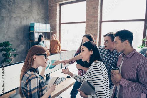 Vászonkép  Close up photo business people process decision testing results quarrel confront
