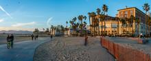 Venice Beach Bike Trail At Sunset, California