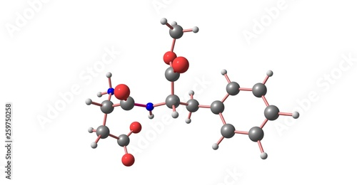 Photo Aspartame molecular structure isolated on white