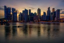 City Skyline At Night, Singapore