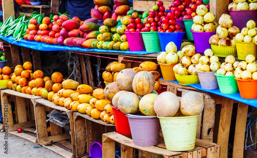 View on mangos and fruits on market in Mexico © streetflash