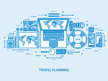 Travel And Tourism. World Map,...
