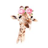 akwarela rysunek zwierzęcia - żyrafa w kwiatach