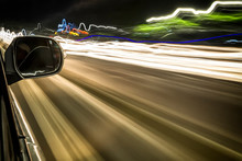 Light Trails And Traffic Viewed From A Moving Car, Indonesia