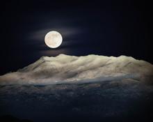 Moon Over San Jacinto Mountains, California, United States