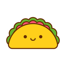 Cartoon Cute Taco Icon Isolate...