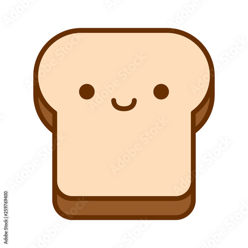 Cartoon Cute Bread Icon Isolated On White Background - 259769400