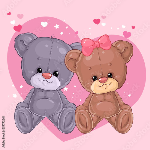 Photo  Two cute teddy bears a boy and a girl are sitting on the background of a big heart