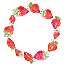 Painted Watercolor Wreath Of Colorful Hand Drawn Strawberries