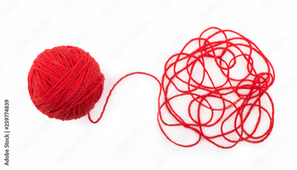 Fototapety, obrazy: Ball of yarn on the white background