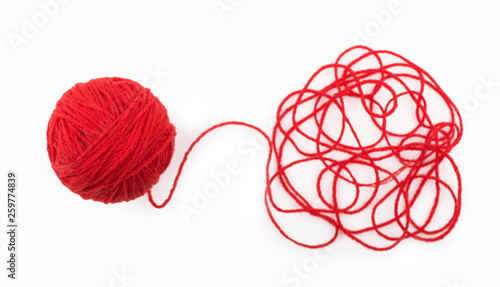 Fotografiet  Ball of yarn on the white background