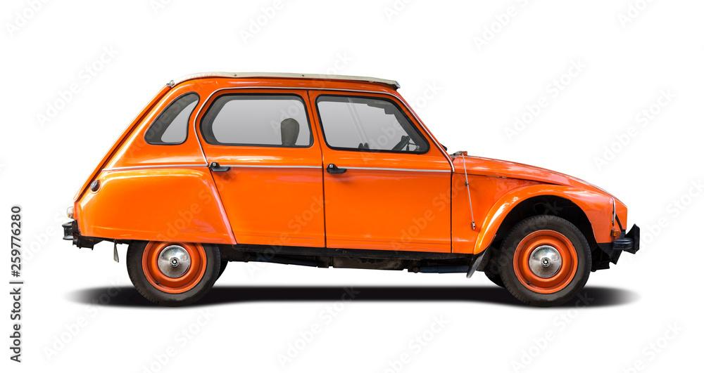 Fototapety, obrazy: Orange French classic car isolated on white