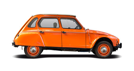 Orange French classic car isolated on white