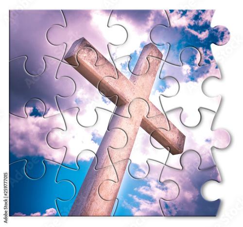 Rebuild our faith or losing faith - Christian cross against a cloudy sky - conce Tapéta, Fotótapéta