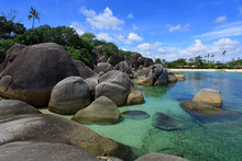 Tropical Beach Landscape, Tanjung Tinggi, Belitung, Indonesia