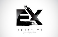 EX Letter Design With Brush Stroke And Modern 3D Look.