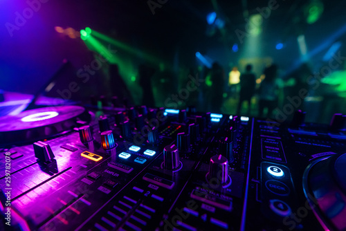Fotografie, Obraz  DJ mixer controller Board for professional mixing of electronic music in a night