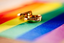 Two Gold Wedding Rings On Rain...