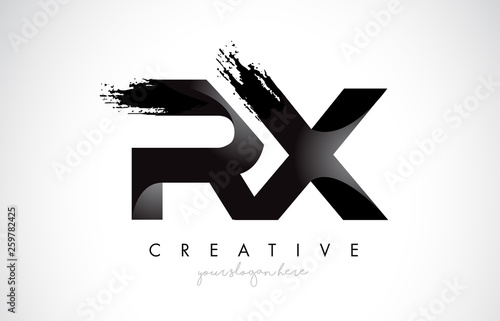 Photo  RX Letter Design with Brush Stroke and Modern 3D Look.