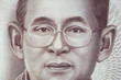 The story and biography of King Rama 9 on Thai Banknotes. Macro 1:1 Photograph.