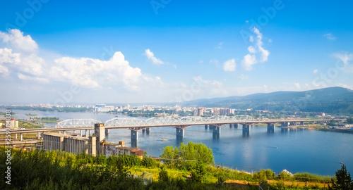 Fototapeta summer urban landscape, city view, bridge over the Yenisei obraz