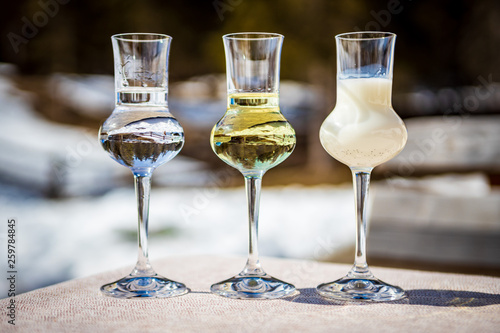 Flavored Grappa (Schnapps) glasses in Cortina d'Ampezzo, Dolomites, Italy Canvas Print