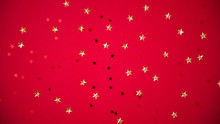 Red Sparkling Sequins Stars On Red Background. Top View, Flat Lay. Copyspace For Text. Bright And Festive Holiday Background.