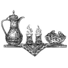Antique Teapot, Two Cups And A...